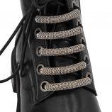Rangers cuir crantée micro-perle argent lacet zip Femme MIMMU marque pas cher prix dégriffés destockage