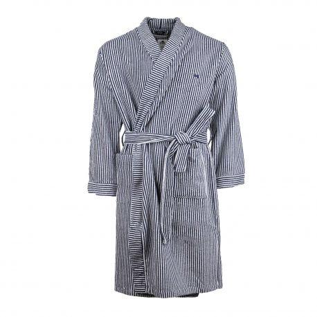 Peignoir manches longues coton éponge rayé bicolore Homme HOM marque pas cher prix dégriffés destockage