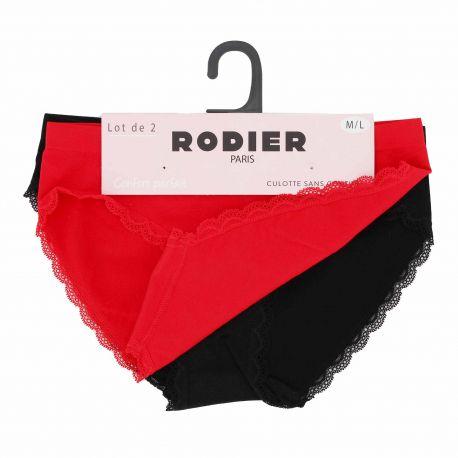 Lot de 2 culottes confort stretch sans couture dentelle Femme RODIER marque pas cher prix dégriffés destockage