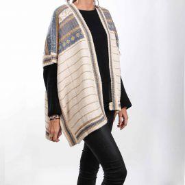 Poncho col châle laine métallisé rayures jacquard Femme CARE OF YOU marque pas cher prix dégriffés destockage