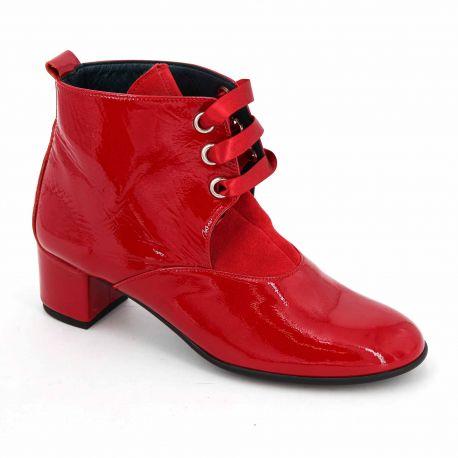 Bottine lacet cuir rouge t35-t41 criktus Femme YVES DESFARGE marque pas cher prix dégriffés destockage
