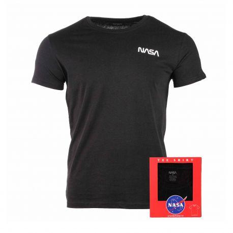 Tee shirt mc col rond basic worm black white Homme NASA marque pas cher prix dégriffés destockage