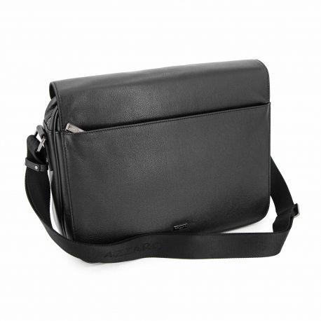Sacohe cuir noir grand modele 906618 Homme AZZARO marque pas cher prix dégriffés destockage