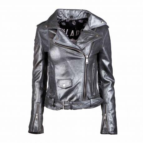 Blouson cuir diane metallic silver Femme L.A.D.C. marque pas cher prix dégriffés destockage