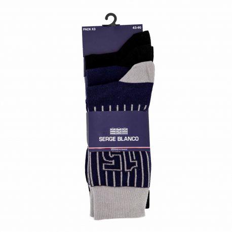 Lot de 3 paires de chaussettes Homme SERGE BLANCO marque pas cher prix dégriffés destockage