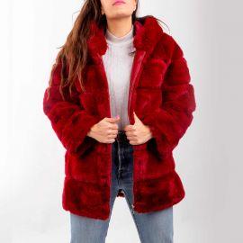 Manteau fausse fourrure avec capuche zip Femme EMERAUDE
