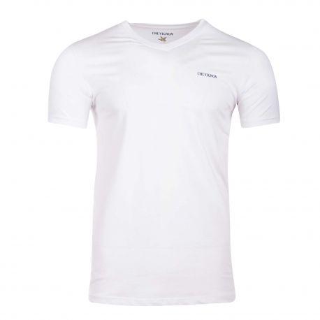 Tee shirt col v mc tario Homme CHEVIGNON marque pas cher prix dégriffés destockage