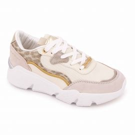 Basket blanche et or cf01w60730/01 Femme CONTE OF FLORENCE