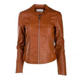 Veste simili cuir marron viblue 14049915 Femme VILA