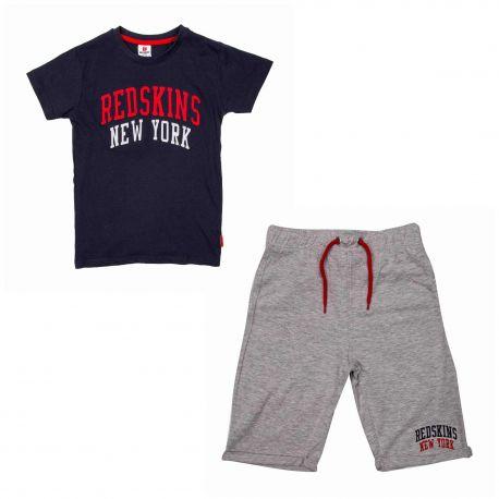 Ensemble tee-shirt mc+bermuda set303 de 6 a 12 ans Enfant REDSKINS