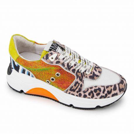 Baskets banjul leopard multicolore 5464 Femme SEMERDJIAN marque pas cher prix dégriffés destockage