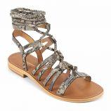 Sandales hautes croisées cuir léger imprimé python Hercule Femme LES TROPEZIENNES PAR M.BELARBI