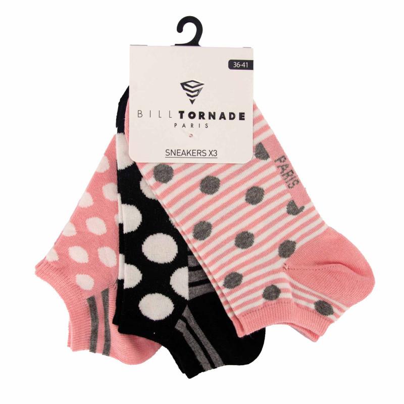 Chaussettes fantaisies lotx3 t36/41 11088 Femme BILL TORNADE marque pas cher prix dégriffés destockage