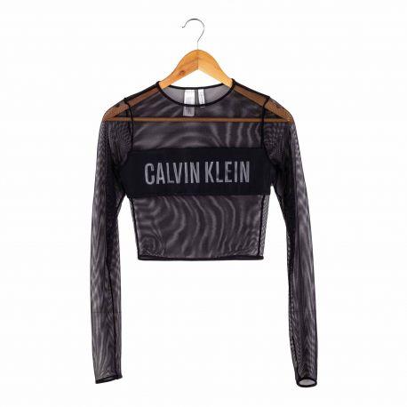 Tee shirt crop resille kw0kw00480 Femme CALVIN KLEIN marque pas cher prix dégriffés destockage