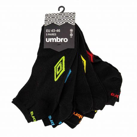 Soquette lot x5 noir logo couleur Homme UMBRO marque pas cher prix dégriffés destockage