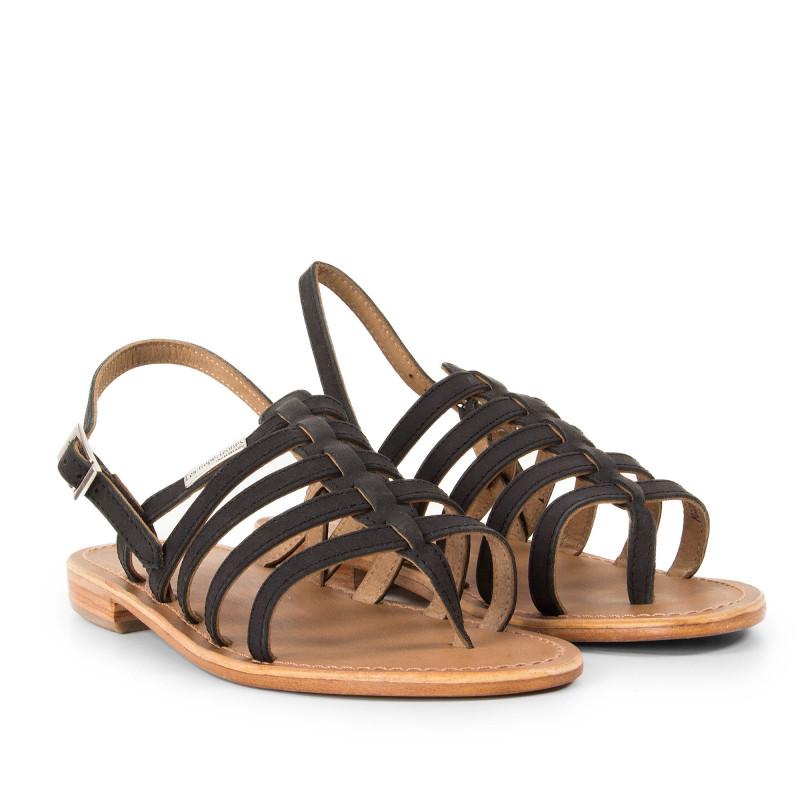 Sandales noires femme HOOK Les Tropéziennes marque pas cher prix dégriffés destockage