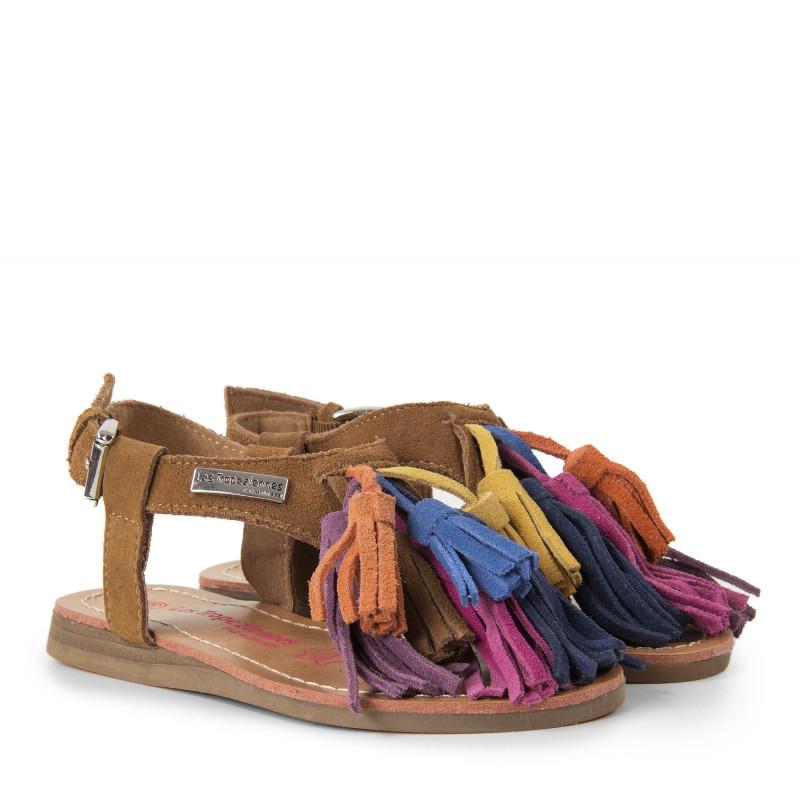 Sandales multicolore pompons fille GORBY Les Tropéziennes par M. Belarbi marque pas cher prix dégriffés destockage