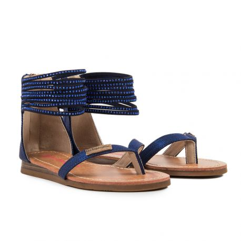 Sandales bleues avec strass fille GINKGO Les Tropéziennes par M. Belarbi marque pas cher prix dégriffés destockage