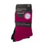 Lot de 2 paires de chaussettes fluffy femme AZERTEX marque pas cher prix dégriffés destockage