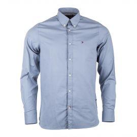 Chemise Manches Longues bleu gris homme TOMMY HILFIGER marque pas cher prix dégriffés destockage