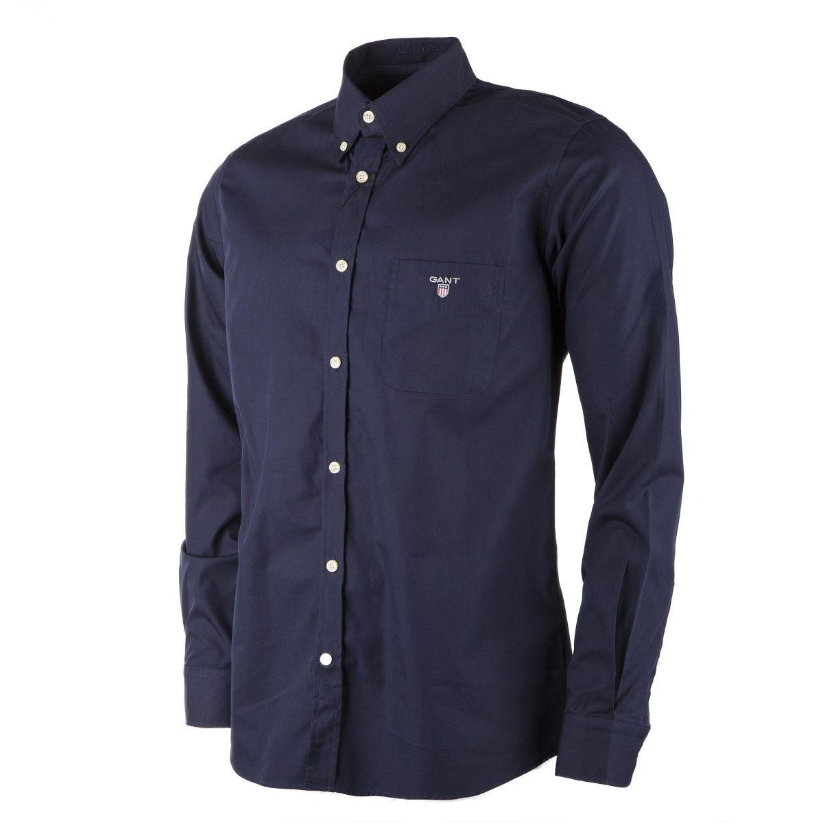 chemise regular fit bleu marine homme gant prix d griff. Black Bedroom Furniture Sets. Home Design Ideas