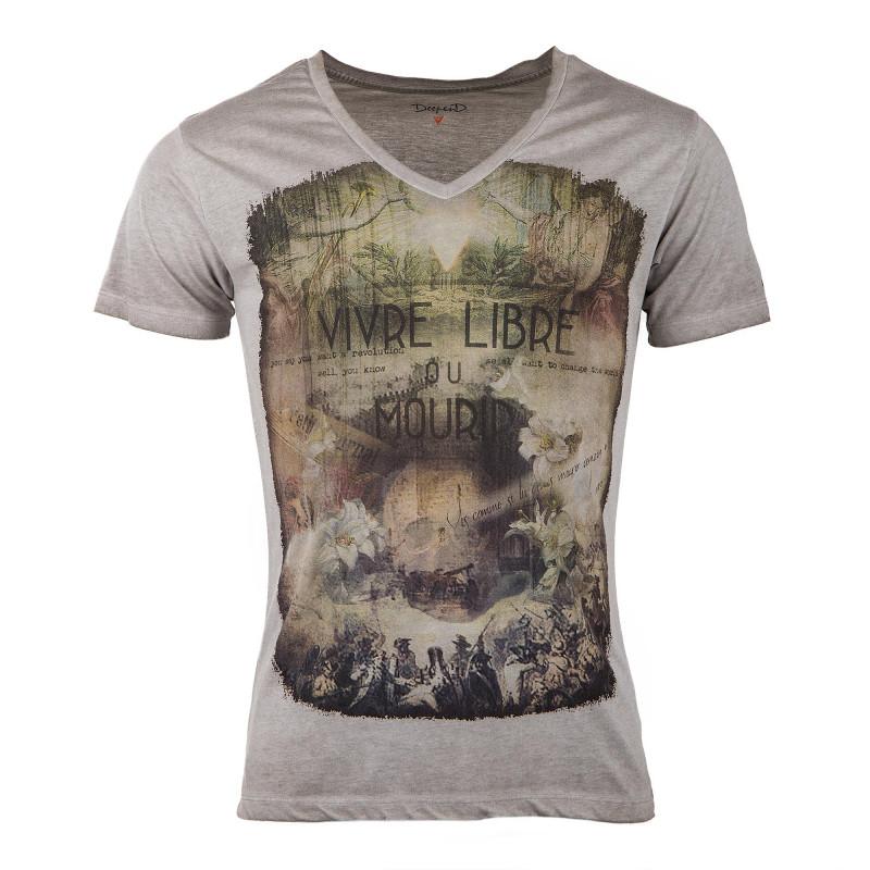 Tee-shirt col V imprimés homme DEEPEND à