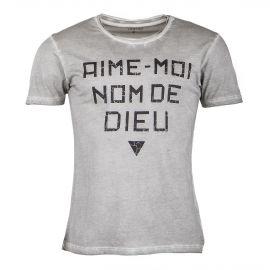 T-shirt gris à message homme DEEPEND marque pas cher prix dégriffés destockage