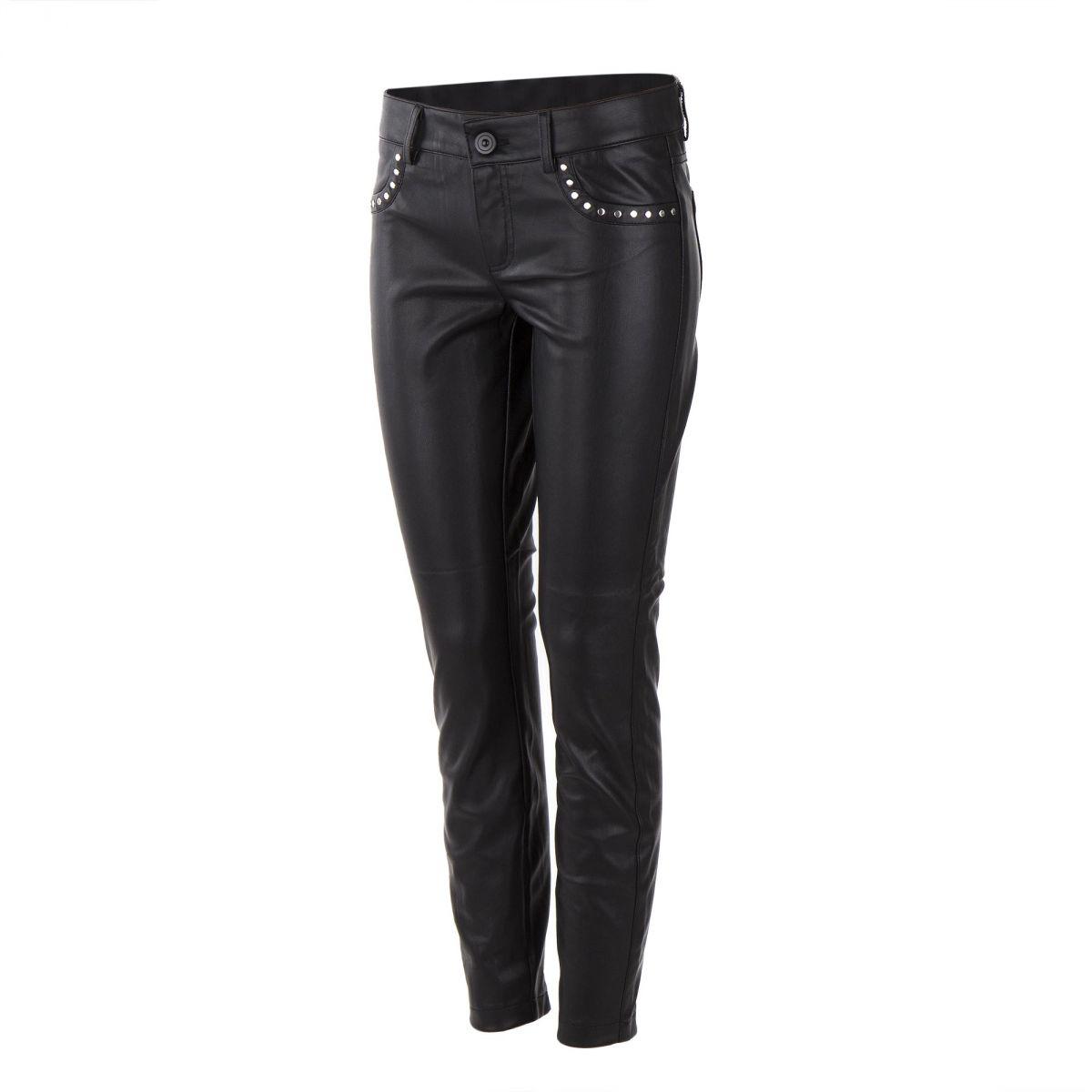 pantalon slim simili cuir noir femme on you prix d griff. Black Bedroom Furniture Sets. Home Design Ideas