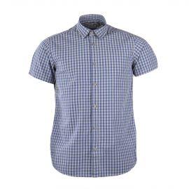 Chemise manches courtes à carreaux bleus et gris homme BEST MOUNTAIN marque pas cher prix dégriffés destockage