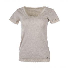 T-shirt manches courtes beige détails dentelle femme DDP