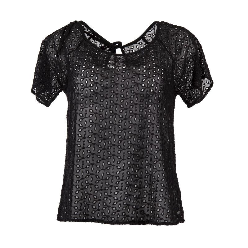 T-shirt à manches courtes ajouré femme DDP marque pas cher prix dégriffés destockage