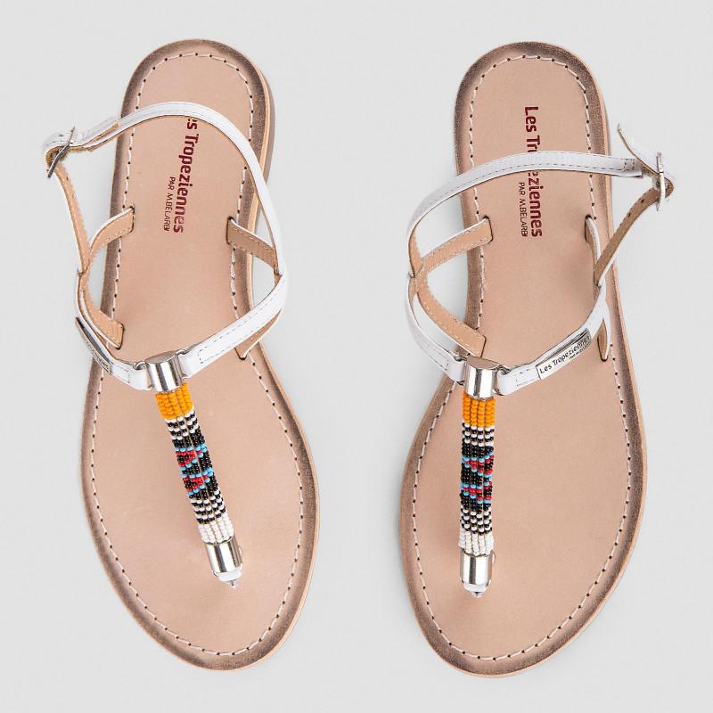 Sandales en cuir détails perles multicolores femme ODELIA LES TROPEZIENNES marque pas cher prix dégriffés destockage