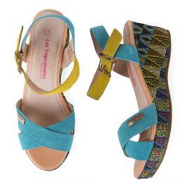 Sandales à talons compensés turquoise et jaunes GATIELA LES TROPEZIENNES marque pas cher prix dégriffés destockage