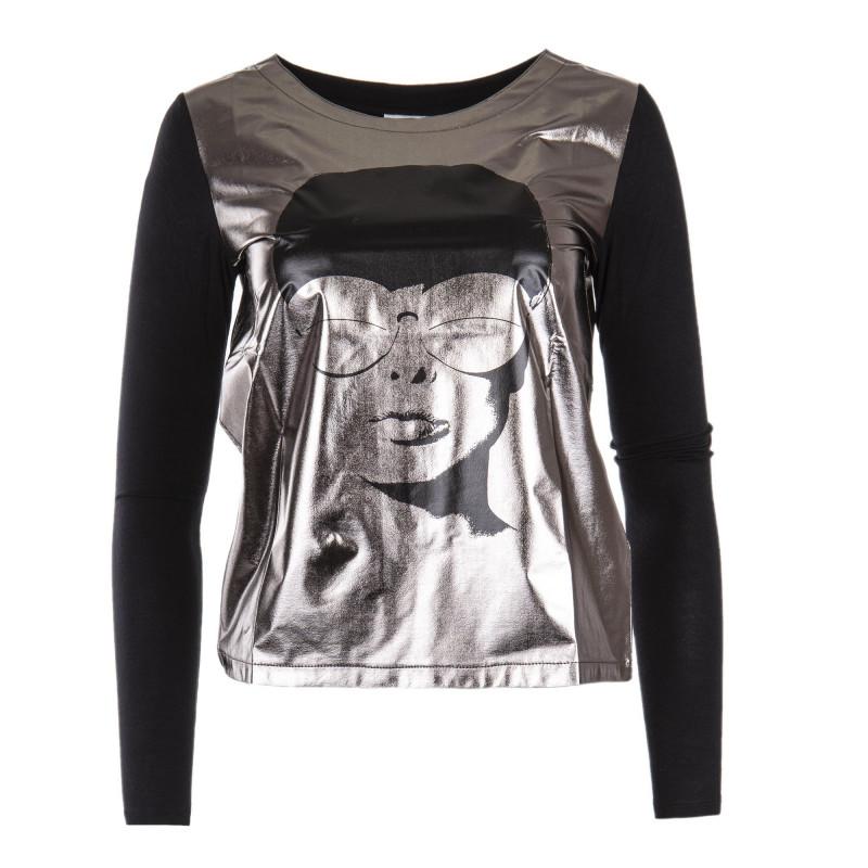 tee shirt manches longues argent et noir femme courreges marque pas cher  prix dgriffs destockage with t shirt noir femme dcfae3cbde67