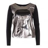 Tee shirt manches longues argenté et noir femme COURREGES marque pas cher prix dégriffés destockage