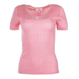 Tee shirt manches courtes côtelé rose femme COURREGES marque pas cher prix dégriffés destockage