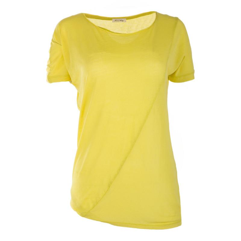 Tee shirt à manches courtes effet bi-matière femme AMERICAN VINTAGE marque pas cher prix dégriffés destockage