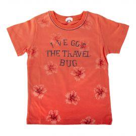 Tee shirt orange à fleurs bébé ABSORBA marque pas cher prix dégriffés destockage