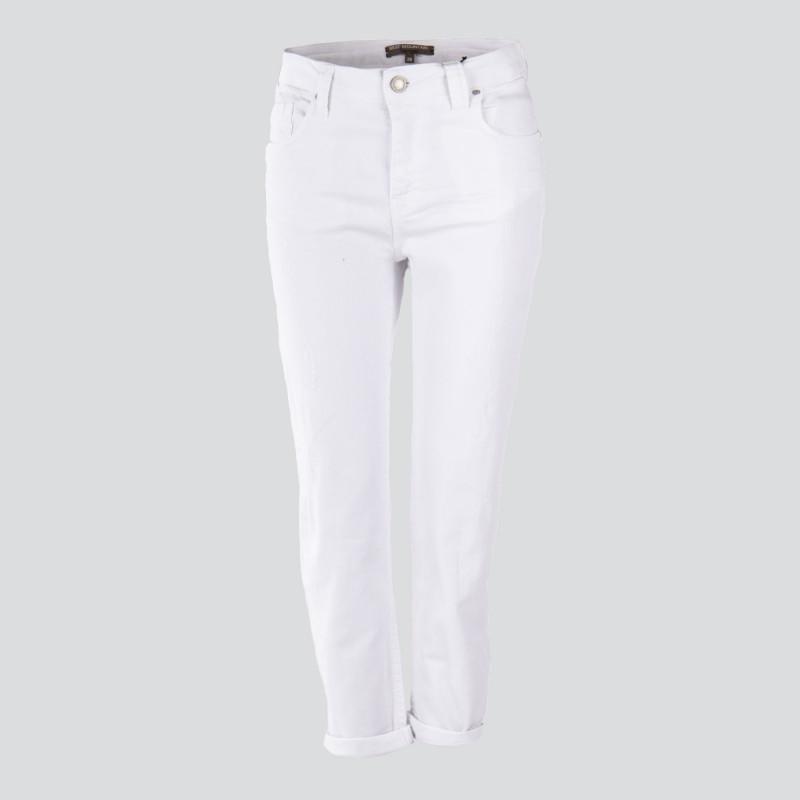 Pantalon en toile coupe boyfriend blanc femme BEST MOUNTAIN marque pas cher prix dégriffés destockage
