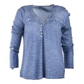 Tee shirt bleu délavé col tunisien femme BEST MOUNTAIN