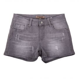 Short en jean gris détails destroy coupe skinny femme BEST MOUNTAIN