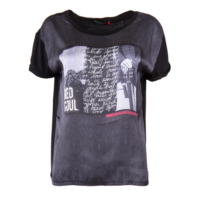 Tee shirt manches courtes bi matière femme RED SOUL marque pas cher prix dégriffés destockage