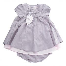Ensemble tunique et short gris à pois rose bébé ABSORBA