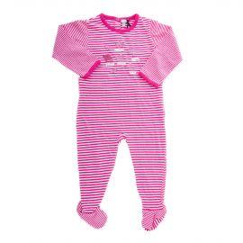 Pyjama à rayures blanches et roses bébé ABSORBA marque pas cher prix dégriffés destockage