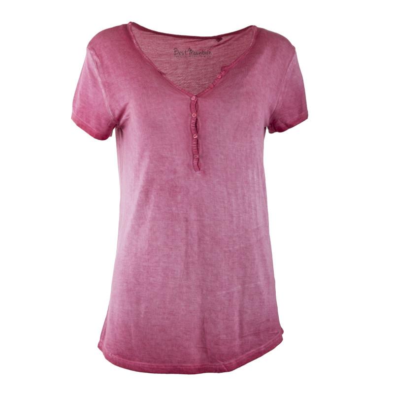 Tee shirt délavé col V à boutons femme BEST MOUNTAIN marque pas cher prix dégriffés destockage