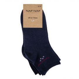 Pack de 3 paires de chaussettes femme NAF NAF marque pas cher prix dégriffés destockage