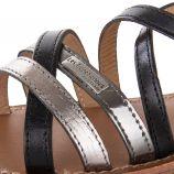 Sandales noires et argentées HAPAX femme LES TROPEZIENNES marque pas cher prix dégriffés destockage