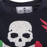 Tee shirt tête de mort strass homme HITE marque pas cher prix dégriffés destockage
