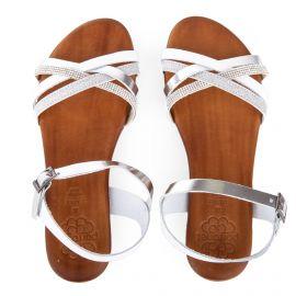 Sandales blanches et argentées en cuir femme PORRONET marque pas cher prix dégriffés destockage