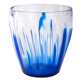 Grand vase transparent détails bleus GUZZINI marque pas cher prix dégriffés destockage